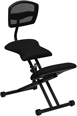Flash Furniture Ergonomic Kneeling Office Chair with Back in Black Mesh and Fabric