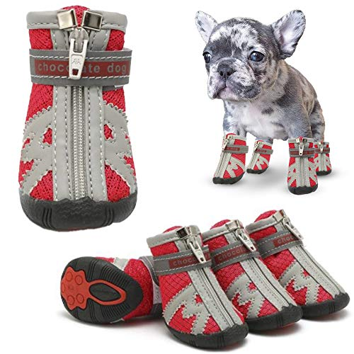 HARDING Dog Shoes- Dog Boots with Zipper- Dog paw Protector with Adjustable Straps- Reflective Strip and Rubber Sole- 4 pcs (3, red)