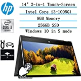"2020 Newest HP Pavilion x360 2-in-1 Convertible 14"" HD Touch-Screen Laptop, 10th Gen Intel Core i3-1005G1(Up to 3.4GHz, Beat i5-7200U), 8GB RAM, 256GB SSD, Webcam, WiFi, HDMI, Win10, w/GM Accessories"
