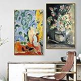 エンリケマティス抽象壁アートヴィンテージポスタープリントヴィンテージ花瓶キャンバス絵画家の装飾の写真リビングルーム40X60cmx2フレームなし