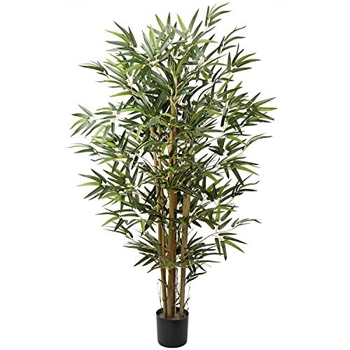 Kunstbaum Künstliche Bambus Dekopflanze Kunstpflanze mit Echtholzstamm im Stabiler Zementierter Basistopf, Terrasse Balkon Sichtschutz Bambus, Höhe: 4 Feet/121.9CM