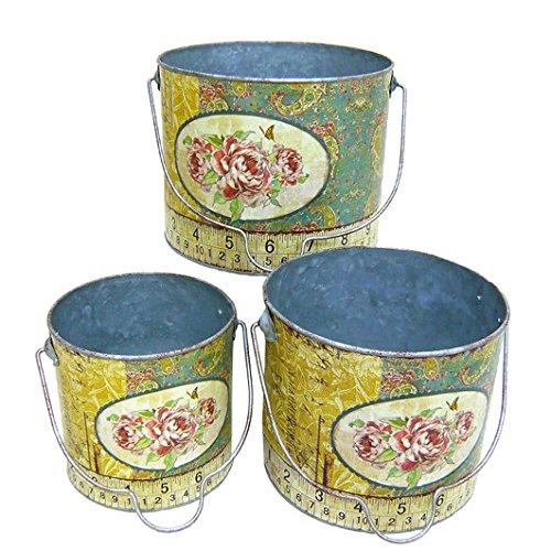 Better & Best Set met 3 ronde emmers van blik, versierd met rozen en meetlint, folie van gelakt papier, blauw, 23.00 x 23.00 x 18.00 cm, 3 stuks