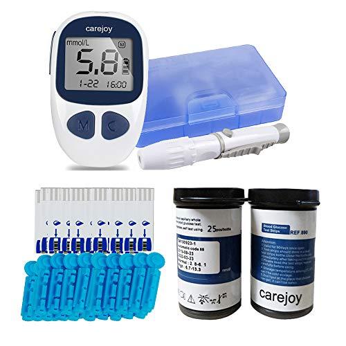 Blutzuckermessgerät Elektronisches Glukometer Blood Glucose Monitor Digitales Handmessgerät für Diabetes mit 50 Teststreifen und 50 Lanzetten