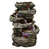 Sunnydaze 6-Tier Stone Falls Tabletop Water Fountain with LED Lights - Peaceful and Relaxing Water Sound - Small Decorative Waterfall Fountain for Home and Office - 15-Inch