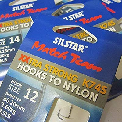 Silstar Match Team 24 (4 packs of 6) K74S - Extra Wide Gape XXTRA STRONG Barbless Fishing Hooks to Nylon - Available in size 10, 12, 14 and 16 (4 packs - Size 10 to 0.22mm of 10.1lb)