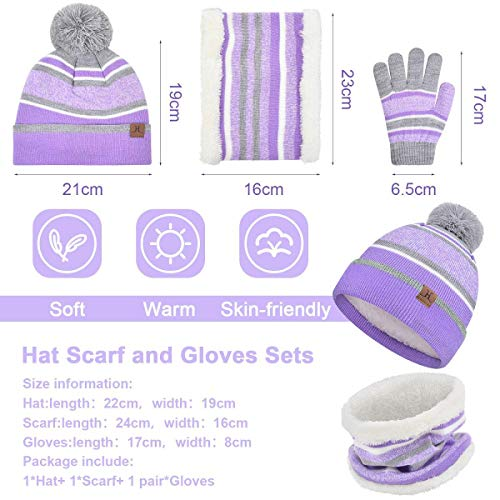 heekpek Kid Children Stripe Knit Hat Scarf Gloves Set Girl Boy Pom Pom Hats Warm Beanie Cap Neckwarmer Winter Crochet Hat Cotton Winter Cute Hat Gloves Scarf