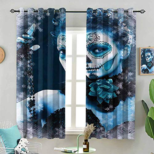 Sunshine blockout Curtain Roses Snowflakes W72 x L96 Inch (2 Panels) for Indoor Living Dining Room
