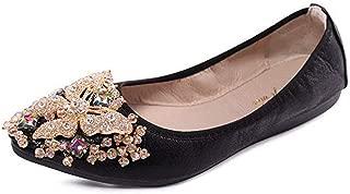 USANDYWomen's Wedding Flats Rhinestone Slip On Foldable Ballet Shoes