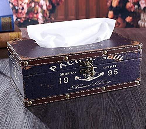 LOXZJYG Retro Vintage rústico de Madera Titular de Tejido Caja de Caja de Tejido Facial dispensador de Papel diseño de Anclaje Soporte de Tejido decoración del hogar (Color : Azul)
