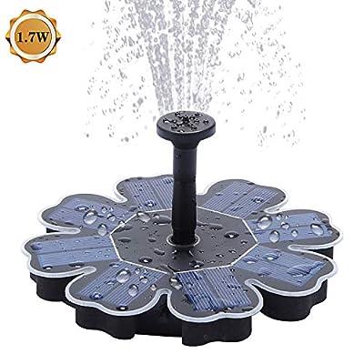 Richarm Solar Fountain Pump 1.7W Outdoor Solar Pond Pump for Bird Bath,Pool,4 Spray Solar Powered Garden Fountain Fountain