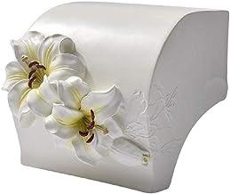 XYZMDJ Hars Toiletpapierhouder-Creatief gesneden bloem toiletpapierhouder, wandmontage, hars toiletpapierdispenser met opb...