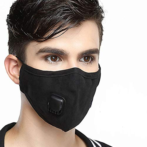 Wecan 2pcs Face Mouth Masks with Breath Valve, 4 Layers PM2.5 Activated Carbon Filter Insert Balaclavas for Cycling Running, Anti Pollution Dust Mask Men