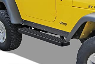 APS iBoard Running Boards (Nerf Bars Side Steps Step Bars) Compatible with 1987-2006 Jeep Wrangler Sport Utility 2-Door (Black Powder Coated 5 inches)