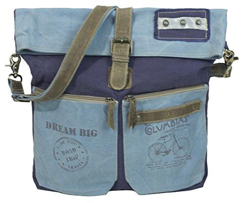 Sunsa Umhängetasche große Damen Herren Schultertasche Crossbody Tasche Handtasche groß Damentasche Canvas mit Leder Retro Henkeltasche Reisetasche Vintage Design Studententasche Unisextasche blau