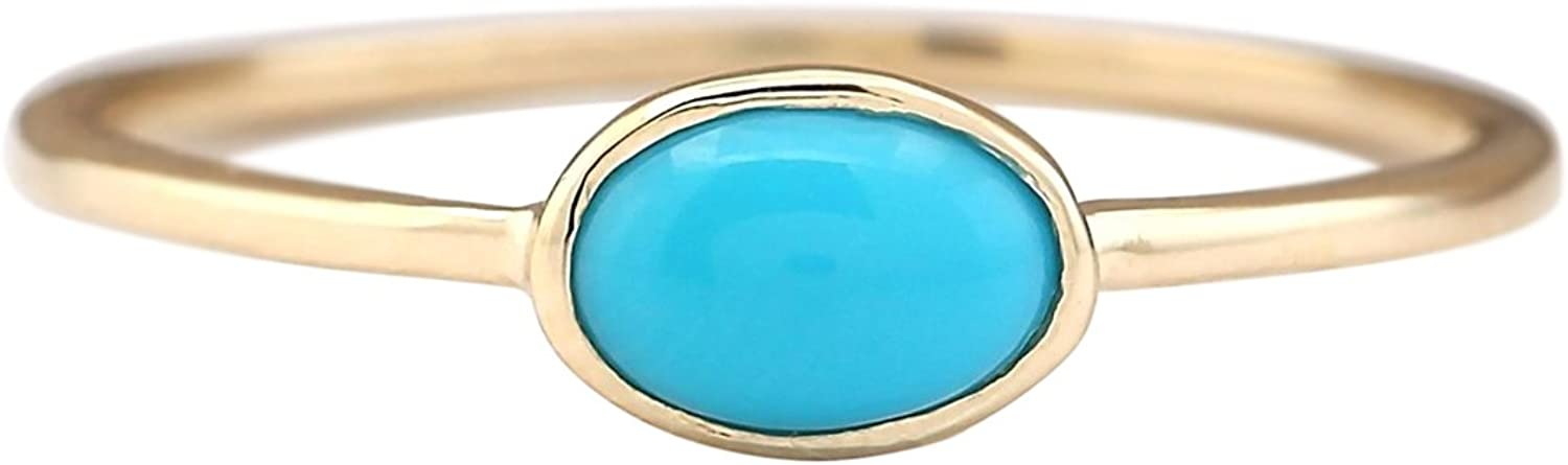 1 Carat Natural bluee Turquoise 14K Yellow gold Solitaire Promise Ring for Women