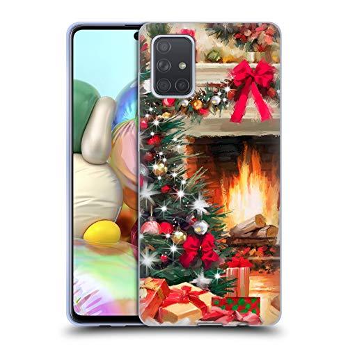 Officiële The Macneil Studio Open haard Kerstboom Soft Gel Case Compatibel voor Samsung Galaxy A71 (2019)