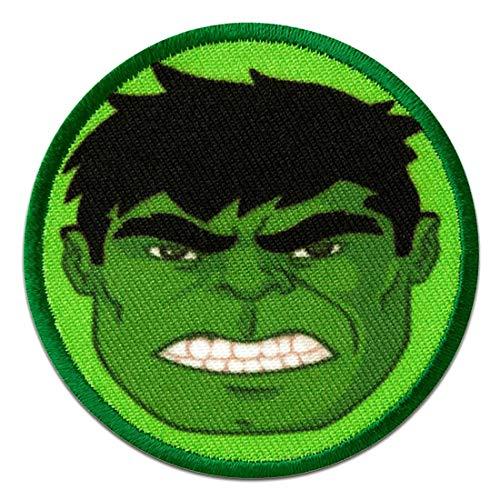 Parches - Avengers Hulk Button cabeza cómico niños - verde - 6cm - termoadhesivos bordados aplique para ropa