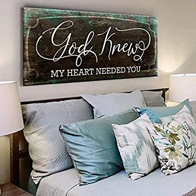 Sense of Art   God Knew My Heart Needed You Quote   Wood Framed Canvas   Ready to Hang Family Wall Art for Home Decoration by Sense of Art