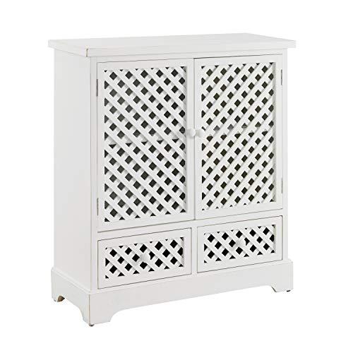 Powell Distressed White 2 Door 2 Drawer Layton Cabinet