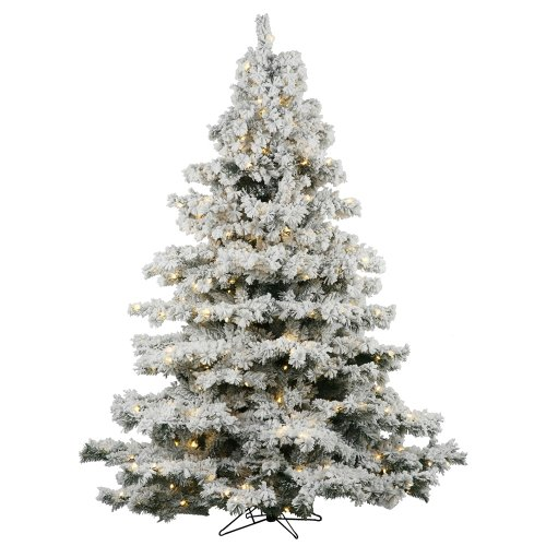Vickerman 36' Flocked Alaskan Pine Artificial Christmas Tree with 100 Warm White LED lights