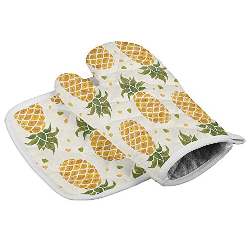 Kitchen Oven Mitts and Potholder- Heat Resistant Gloves for Cooking, Barbecue, Baking, Grilling, Protection & Comfort- Pineapple Tropical Fruit Design