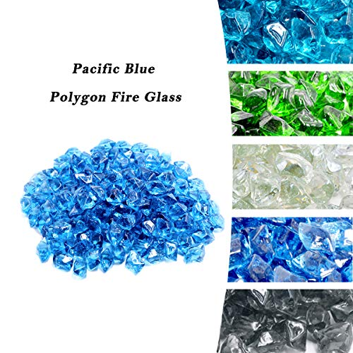 Skyflame 10-Pound Polygon Fire Glass for Fire Pit Fireplace Landscaping, 1/2-Inch Pacific Blue