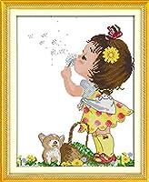 クロスステッチ刺繍キット 図柄印刷 初心者 ホームの装飾 刺繍糸 針 布 11CT Cross Stitch ホームの装飾 フラワーガール 40X50CM