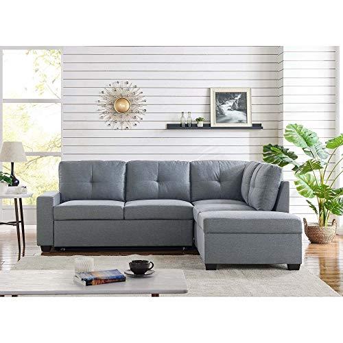 Mobilier Deco - Divano angolare con cassettone portaoggetti convertibile in tessuto grigio, angolo dritto