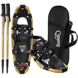 Gpeng 3-in-1 Xtreme Lightweight Terrain Snowshoes for Men Women Youth Kids, Light Weight Aluminum Alloy Terrain Snow Shoes with Trekking Poles and Carrying Tote Bag (Gold, 25 inch)