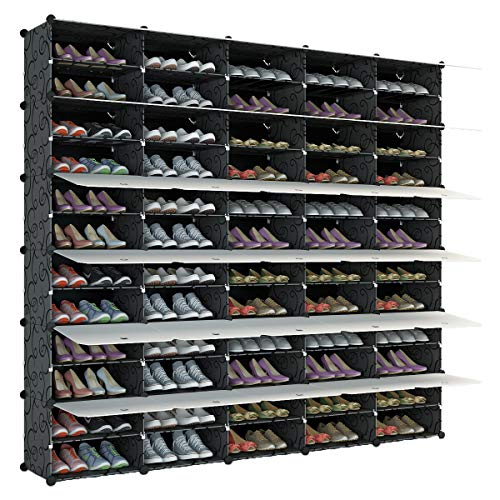 KOUSI Portable Shoe Rack Organizer 120 Pair Tower Shelf Storage Cabinet Stand Expandable for Heels, Boots, Slippers, 12 Tier Black