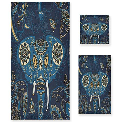 Naanle Juego de 3 toallas de baño vintage de elefante africano para baño de algodón altamente absorbente, toalla de baño grande+toalla de mano+toalla, paquete de 3 toallas de suavidad para decoración
