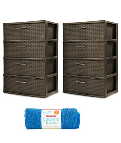 Sterilite 4-Drawer Wide Weave Tower, Espresso Frame & Drawers w/ Driftwood Handles, 2-Pack with Cleaning Cloth