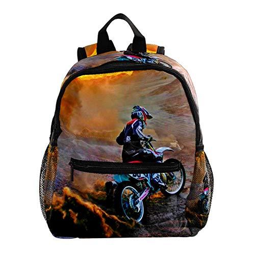 Zaino per bambini 3-8 anni Motocross moto Daypack Leggero Zaino Scuola impermeabile Cartella Per Asilo Nido Scuola Materna Viaggio Bambino Pannolino Bag 25.4x10x30CM