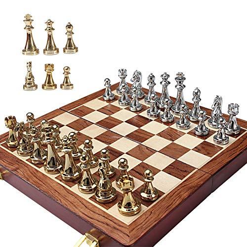 XWZJY Juego de Tablero de ajedrez de Lujo, portátil, clásico, Plegable, de Viaje, Juego de ajedrez, Piezas de ajedrez de Metal de aleación de Zinc para jóvenes Adultos, 37x37cm