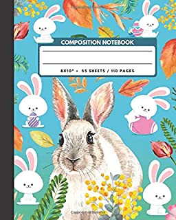 Composition Notebook: Rabbit / Bunny - Pet  Animals Exercise Book & Journal , Back To School Gifts For Teens Girls Boys Kids Friends Students 8x10