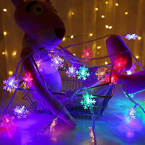 AQUYY 200 LEDs 20 m LED snowflake string, Fairy Light, kerstlichtgordijn, feestdecoratie, binnenverlichting, 8 lichtprogramma's