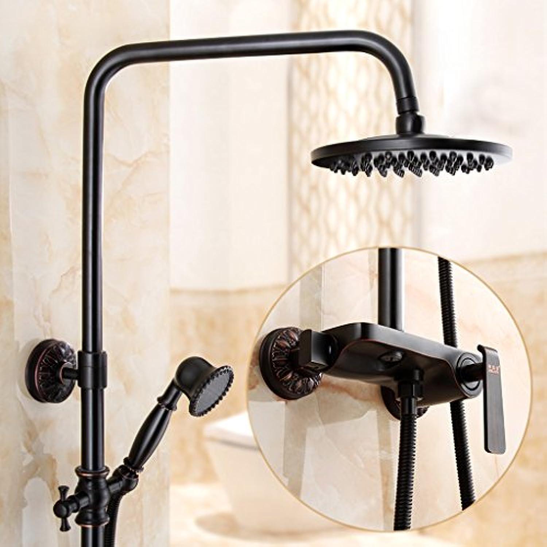 Retro schwarz Thermostat Dusche Set, 8  Runde Duschkopf, Badezimmer Handbrause, ein Knopf Dual Control Wasser (alle Kupfer) ( Farbe   1 )