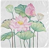Juego de 4 servilletas de tela con flor de loto rosa y lirio de agua, servilletas de poliéster lavables para cenar, servilletas de mesa suaves y reutilizables para el hogar, Navidad, fiesta, boda,