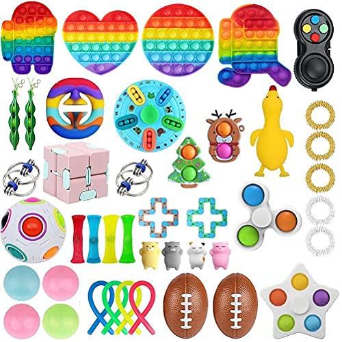 DKaony Anti-Stress Sensory Fidget Toy Set, 43pcs Fidget Toy Box Finger Toys Autismus ADHS, Push Bubble Spielzeug Angst Relief Squeeze Toys Stressabbau Reliever für Kinder und Erwachsene