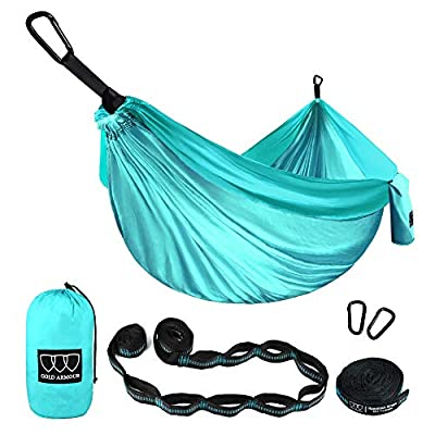 Gold Armour Camping Hammock - Extra Large Double Parachute Hammock (2 Tree Straps 16 Loops,10 ft Included) USA Brand Lightweight Nylon Mens Womens Kids, Camping Accessories Gear (Seafoam/Seafoam)