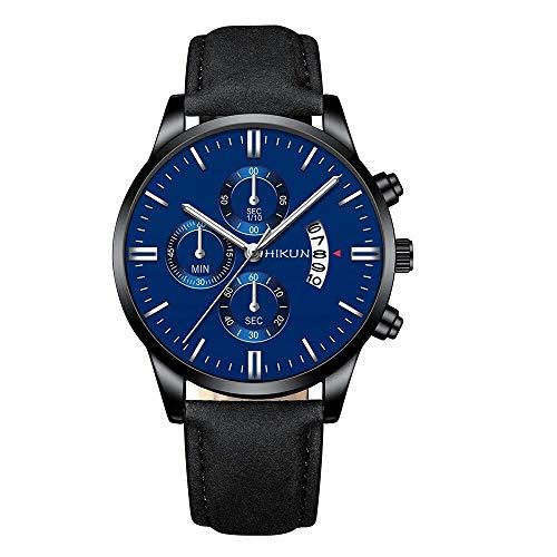 YLH Reloj de Manera muñeca del Deporte de la Caja de la aleación de Reloj del Cuero Banda Reloj de Cuarzo Reloj de Pulsera Calendario Reloj de Negocios (Color : Black Blue)