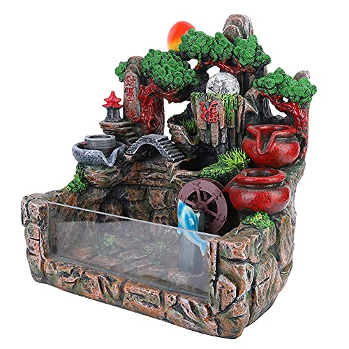 SZHWLKJ Rockery Water Fountain Waterfall Bonsai With Atomizer Fish Container Indoor Fengshui Home Decoration