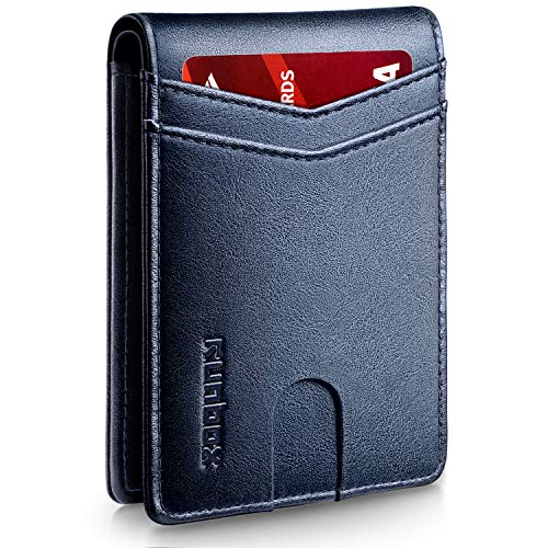 RUNBOX Slim Wallets for Men with RFID Blocking & Minimalist Mens Front Pocket Wallet Leather(blue)