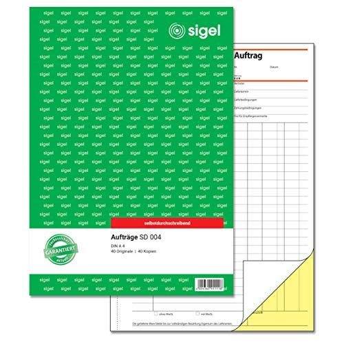 SIGEL SD004 Auftragsbuch A4, 2x40 Blatt, selbstdurchschreibend, 1 Stück