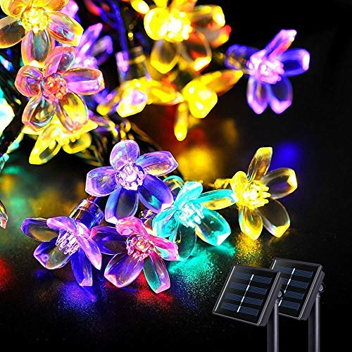 JMEXSUSS Solar Flower String Lights, 2 Pack 30.6FT 50LED Cherry Blossoms String Lights Outdoor Waterproof, Solar Fairy Light for Garden Decorations,Valentine