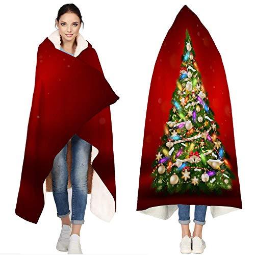 AEMAPE De Franela con Capucha, Bolas de Colores decoran la celebración del árbol de Navidad | Manta de Tiro súper Suave para Vestir para sofá Cama de 50 'x 60'