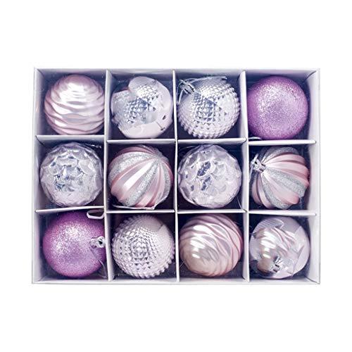 FossenHyC Bolas de Navidad Decoradas de Colores - 12pc Decoración Navideña Arbol Adorno - Decoracion Navidad...