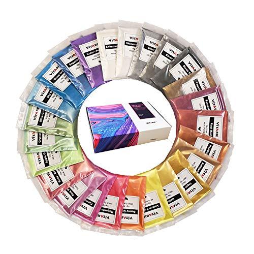 VITARIE mica Pigment (25 Farben 10g / 0,35 unzen pro stück) ultimative Huge Pigment-Puder-Set metallic-Effekt für die epoxy-Harz-farbpigment - seifenherstellung kit - Slime Supplies