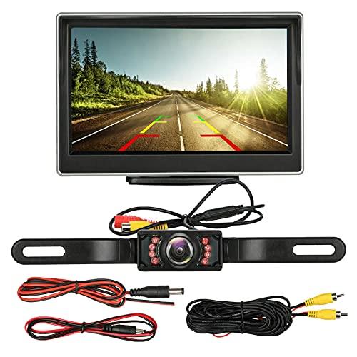 Milkvetch Licencia de AutomóVil CáMara de Respaldo Vista Trasera Sistema de Estacionamiento HD VisióN Nocturna Monitor de AutomóVil de 5 Pulgadas Pantalla TFT LCD HD Digital