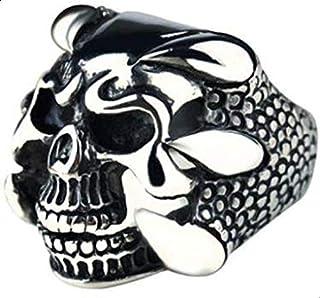 -shaped skull ring for men
